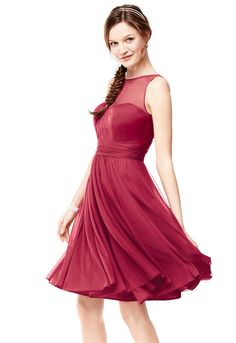Short Mesh Bridesmaid Dress with Sweetheart Illusion Neckline Style F15701 #redweddings #bridesmaiddress #davidsbridal