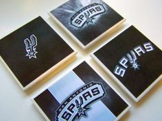 San Antonio Spurs 4 Piece Ceramic Tile Coaster Set