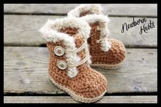 Fur Trim Baby Booties. #15 pattern on Craftsy.com