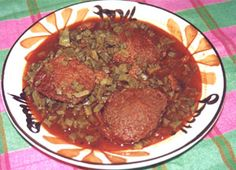 torta de camaron y nopales...YUM!!!!! (translated: shrimp patties with catus in a red chile sauce)