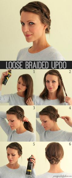 Complete your haute summer ensemble with a clean braided updo. braided updo's, braid updo, loose braid, penni pincher, loos braid