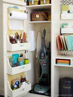 I like this, but not sure if the door would actually close all the way. Looks like the shelving would hit the vacuum in this situation! =) -Breezy