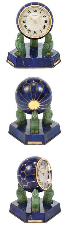 Art Deco Gold, Silver, Lapis, Nephrite Jade, Mother-of-Pearl and Diamond Desk Clock, Cartier, France, circa 1925