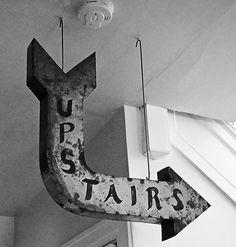 Hometalk :: Upstairs Anyone? How to Make a Metal Arrow Look Like a Vintage Sign