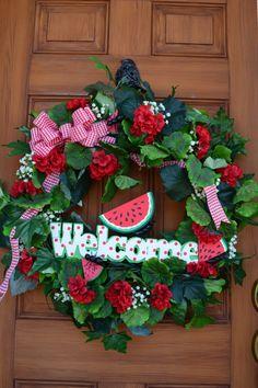 Front Door Welcoming Summer Wreath  Watermelon wreathes for front door, cute crafts for summer, welcom summer, watermelon idea, front doors, summer welcome wreath, summer watermelon, door welcom, summer wreath