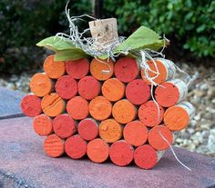 Festive Fall Wine Cork Pumpkin by BonusMomBoutique on Etsy fall wine decor, wine corks, pumpkin, wine cork decor