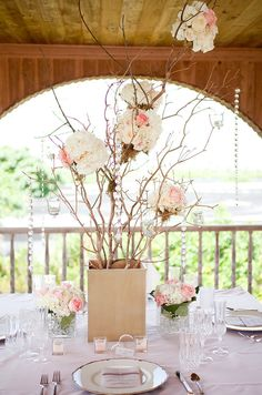 Rustic glam driftwood centerpiece with roses and hanging crystal - GORGEOUS