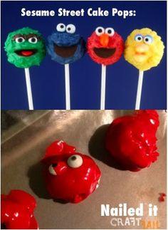 Elmo cake pops - nailed it! nail, street cake, cakes, pinterestfail, funni, cake pops, humor, sesam street, pinterest fail
