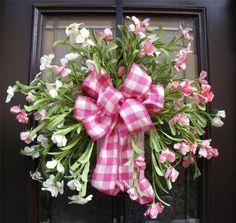 . front door, floral idea, door decor, spring craft, door wreath