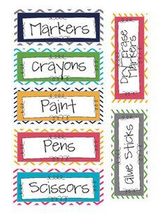Chevron classroom supply labels!