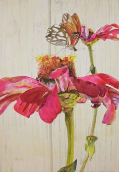 Zinnias and Butterfly, painting by artist Kay Smith