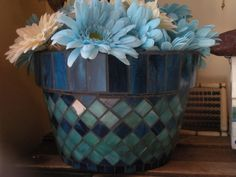 Blue Stained Glass Mosaic Flower Pot. $65.00, via Etsy.