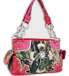Hot Pink Rhinestone Forest Print Cross Handbag In Stock: $45
