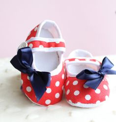 Polka Dot Nautical Maryjanes Red and White by BabysFirstKeepsake, $12.00