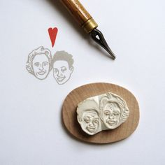 Custom / couple portrait / handcarved rubber stamp by lilimandrill, $80.00