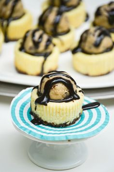 Chocolate Chip Cookie Dough Mini Cheesecakes - Chocolate Chip Cookie crust, creamy cheesecake, hot fudge and eggless chocolate chip cookie dough. Mini Cheesecake perfection! Recipe includes directions for gluten-free or gluten-full. From What The Fork Food Blog