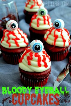 Gory and creepy, yet frighteningly delicious, these Bloody Eyeball Cupcakes aren't for the faint at heart to look at, but the crowd-pleasing combo of red velvet cake with cream cheese icing will win over any scaredy-cat!