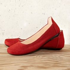 Rust Red Handmade Ballet Flat Shoes