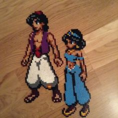 Aladdin and Jasmine hama beads by oscarparsmo