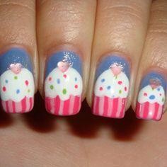 nail art tutorials, birthday nails, heart nail, cupcak nail, nail arts, cupcake art, cupcak art, sweet nails