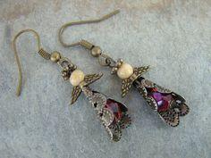 Free Shipping! Christmas Bronze Handmade Angel Earrings Jasper Stone Fire by Sewartzee, $9.00
