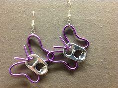 Butterfly earrings from soda caps