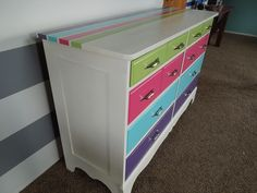 Side view of painted kids dresser
