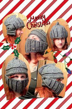 Crochet knight helmet hat