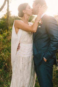 Hudson Valley, NY - DIY Formal Barn Wedding - Dress and Cape Veil by Kathryn Conover - photo by @DLweddings
