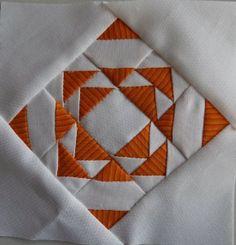 Paula's Dear Jane quilt progress: block A12 - Framed Fancy - 37 pieces.