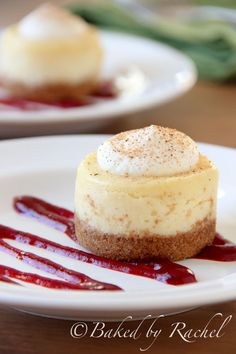 Mini Eggnog Cheesecakes With Cranberry Puree.