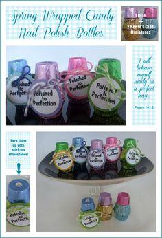 Nail Polish Candy Bottles - cute favors!  :) candi bottl, polish candi, favor, womens ministry crafts