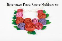 Hand painted - plaster wrap handmade rosette necklace for little girls...