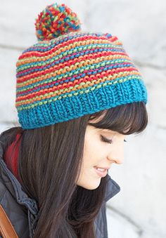 Patons Classic Wool Roving - Bright Stripes Beanie (knit)