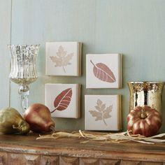 Leaf Stenciled Canvas Set. Easy DIY Leaf Stenciled Canvas Set. Canvas + Leaf Stencil + Acrylic Paint = Fall Decor