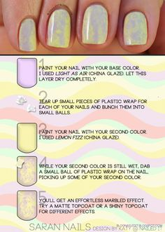 "A different way of getting the ""marble"" effect on nails. Nice spring colors too!"