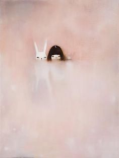 child room, artists, little girls, oil paintings, illustration rabbit, hanna kim, pastel paintings, children, bunni