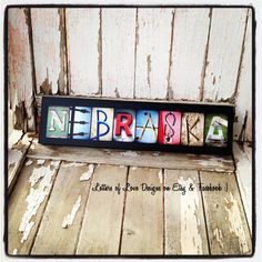 Ready to Ship NEBRASKA Mini Color Wood Sign by LettersOfLoveDesigns, Photo letter art, GBR, Huskers, The Good Life