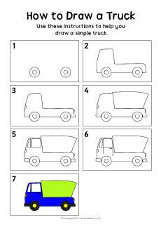 How to draw a truck instruction sheet (SB8290) - SparkleBox