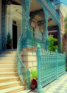 patina, iron staircas, wrought iron