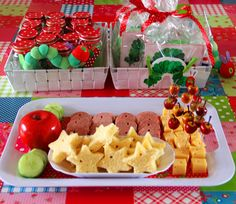 CUTE idea for a very hungry caterpillar party!  Not in English, but the pictures say it all.  I LOVE the little holes in all of the food!
