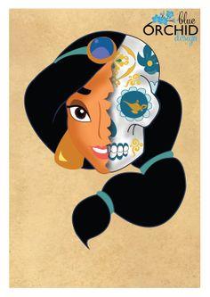 Disney Princess Jasmine Sugar Skull A4 by BlueOrchidDesignsNZ, $30.00