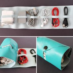 DIY cord roll, keep chords organized while traveling.