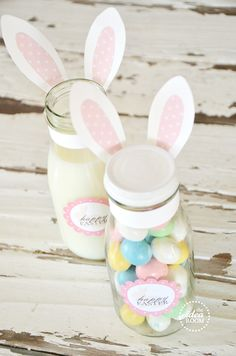 Easter or Children's birthday idea - she used Frappucino bottles.  I'd use those for drinks, only drill the lid and insert a rubber grommet for the straw.  For the treat jar, I'd use a smaller baby food jar  =)
