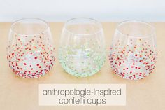 gift, anthropology, diy anthropologie cup, cups, confetti cup, diy stemless wine glasses, anthropologieinspir cup, anthropologi inspir, glass paint