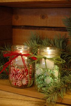 Candy filled jar Candles for your Winter and Christmas Decor. $16.00, via Etsy. (Love the idea, can do for about $5 total for both jars. Thanks, the dollar store)
