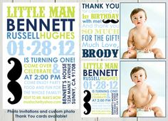 Little Man Mustache Bash : INVITATION 3 colors available on Etsy, $9.00