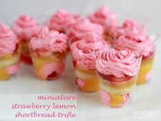 mini strawberry lemon desserts in shot glasses