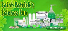 St Patrick's Day = Leprechaun Shamrock green science fun! Science kits, slime, snow & more for your classroom or Leprechaun visit