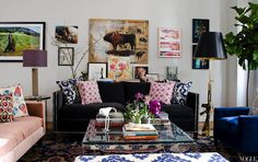 vogue, pillow, living rooms, couch, color, lamp, ny apartment, apartments, live room